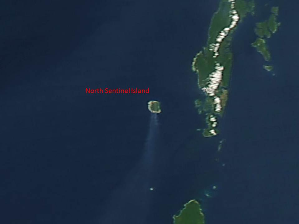 Smoke streaming southward from North Sentinel Island on 13 March, 2014.