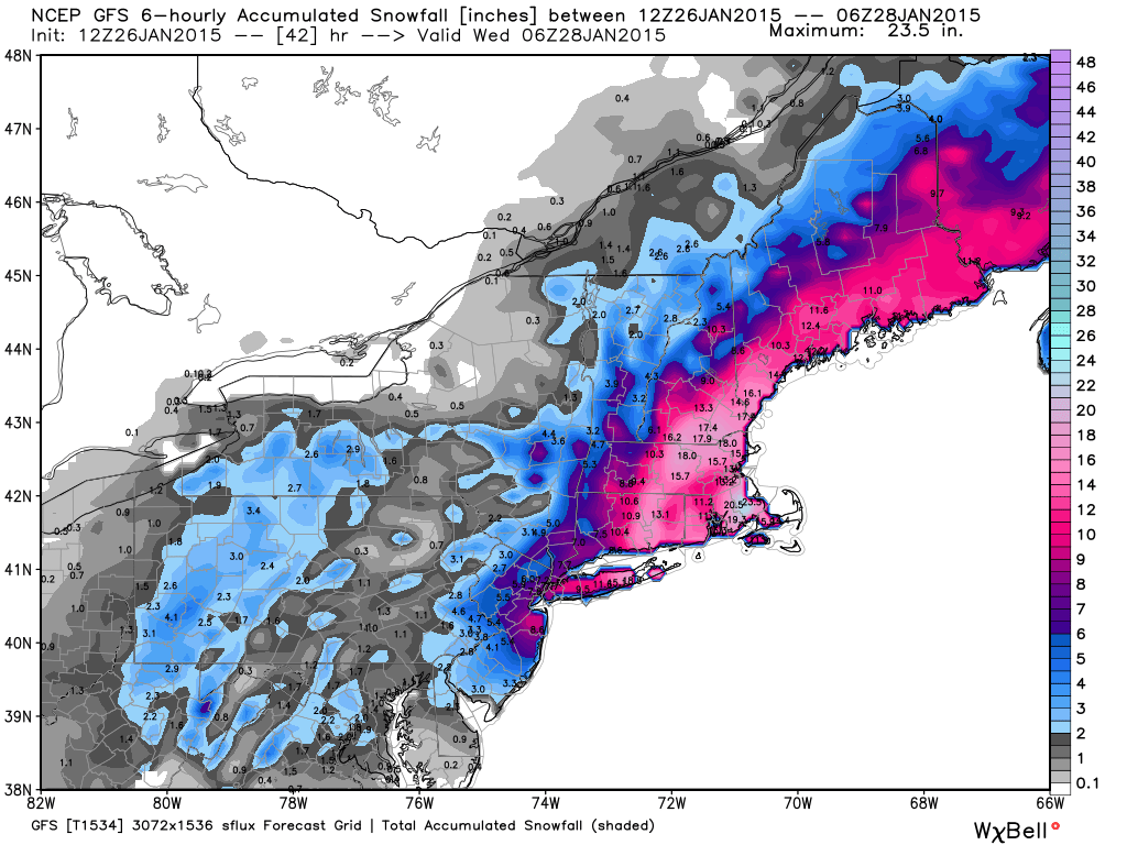 Total snowfall forecast by Tuesday night Jan. 27 2015 from the Monday morning run of the GFS model.
