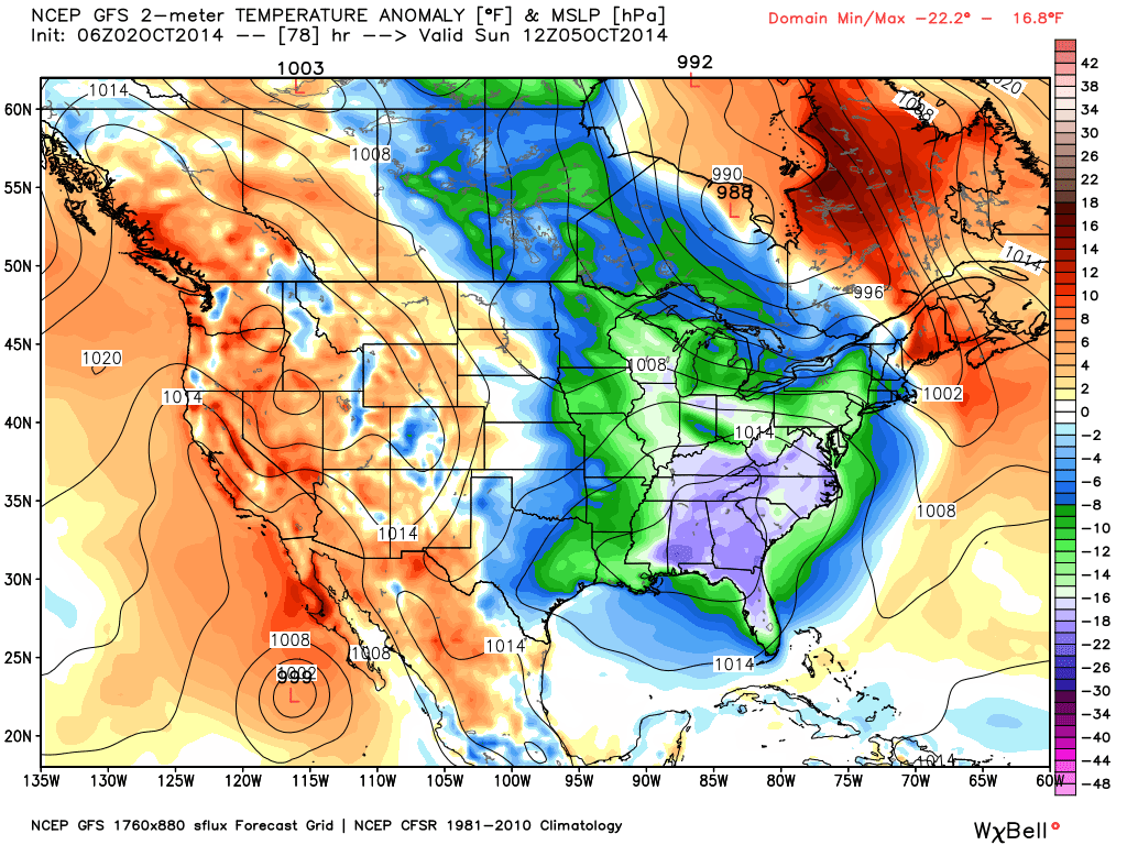 3-day GFS model forecast of surface temperature departures from normal for Sunday morning, Oct. 5, 2014.